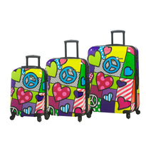 Mia Toro M - Peace And Love 3 Piece Expandable Spinner Upright Luggage Set