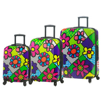 Mia Toro M - Flowery 3 Piece Expandable Spinner Upright Luggage Set
