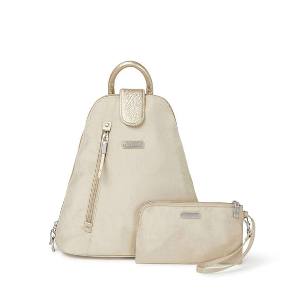Baggallini Metro Backpack With RFID Phone Wristlet - Champagne Shimmer