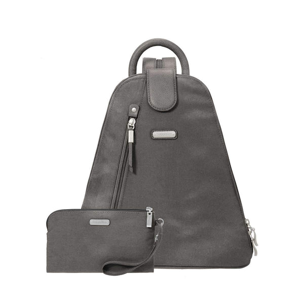 Baggallini Metro Backpack With RFID Phone Wristlet - Sterling Shimmer