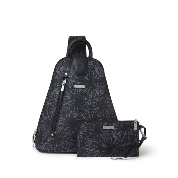 Baggallini Metro Backpack With RFID Phone Wristlet - Onyx Floral