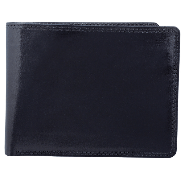 Bugatti Milled Vegetable Tanned Leather Men's Removable Billfold Wallet (RFID Blocking) - Black