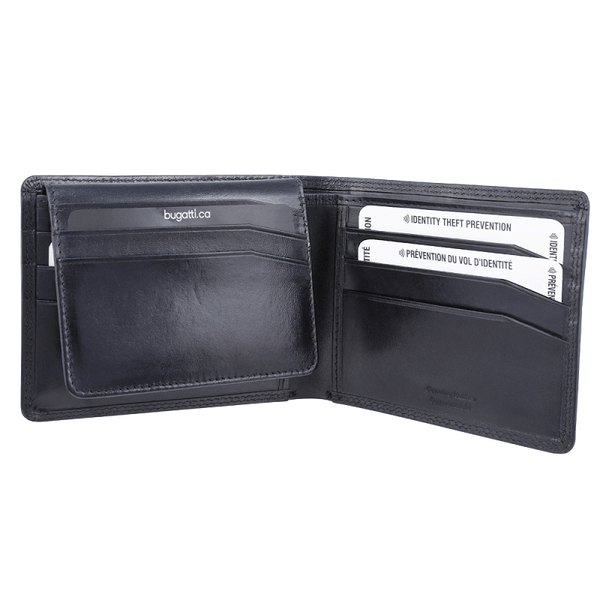 Bugatti Milled Vegetable Tanned Leather Men's Removable Billfold Wallet (RFID Blocking)