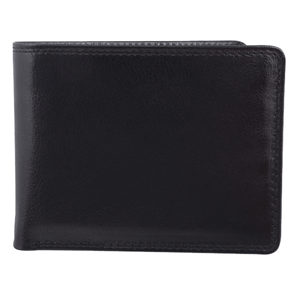 Bugatti Milled Vegetable Tanned Leather Men's Billfold Center Wing Wallet (RFID Blocking) - Black