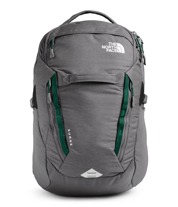 The North Face Surge Backpack - Zinc Grey Dark Heather/Evergreen
