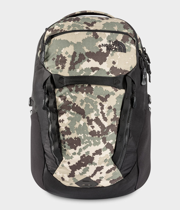 The North Face Surge Backpack - Burnt Olive Green Digi Topo Ripstop Print/TNF Black