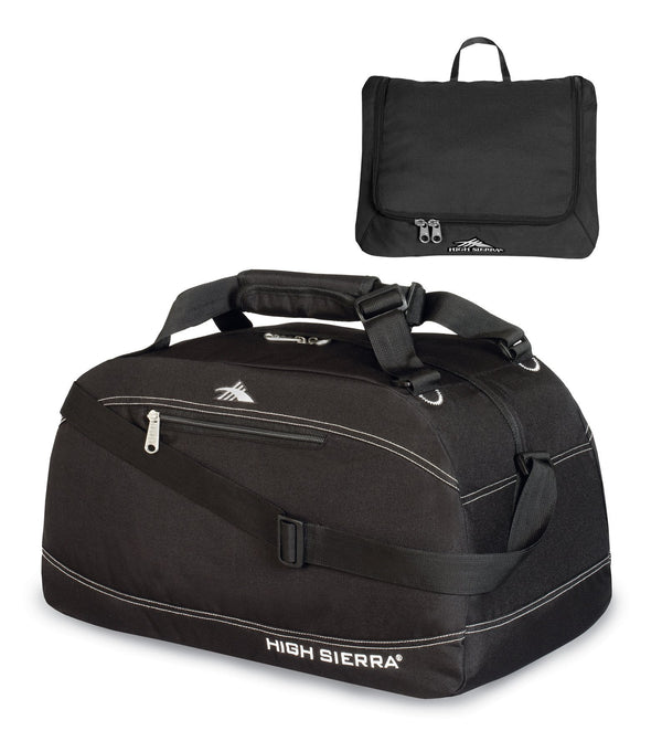High Sierra Pack-N-Go 20 Inch Duffle With Toiletry Pouch - Black/Black/Black