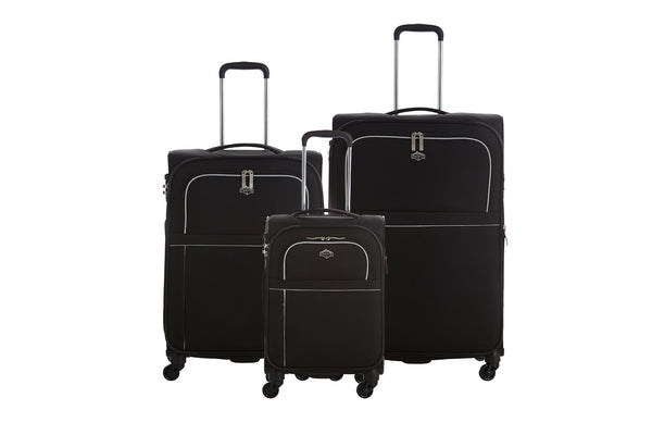 Pacific Banff Softside 3 Piece Spinner Upright Luggage Set - Black