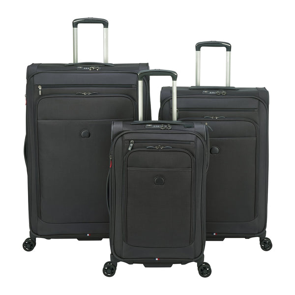 Delsey Helium Pilot 4.0 3 Piece Expandable Spinner Luggage Set - Black