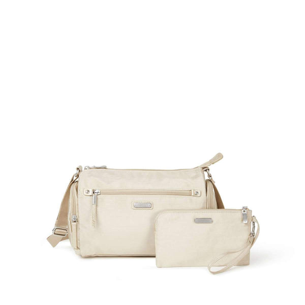 Baggallini Road Trip Hobo With RFID Phone Wristlet - Champagne Shimmer