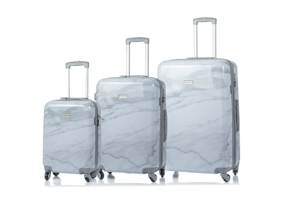 Champs Carrera Collection 3 Piece Expandable Spinner Luggage Set - White