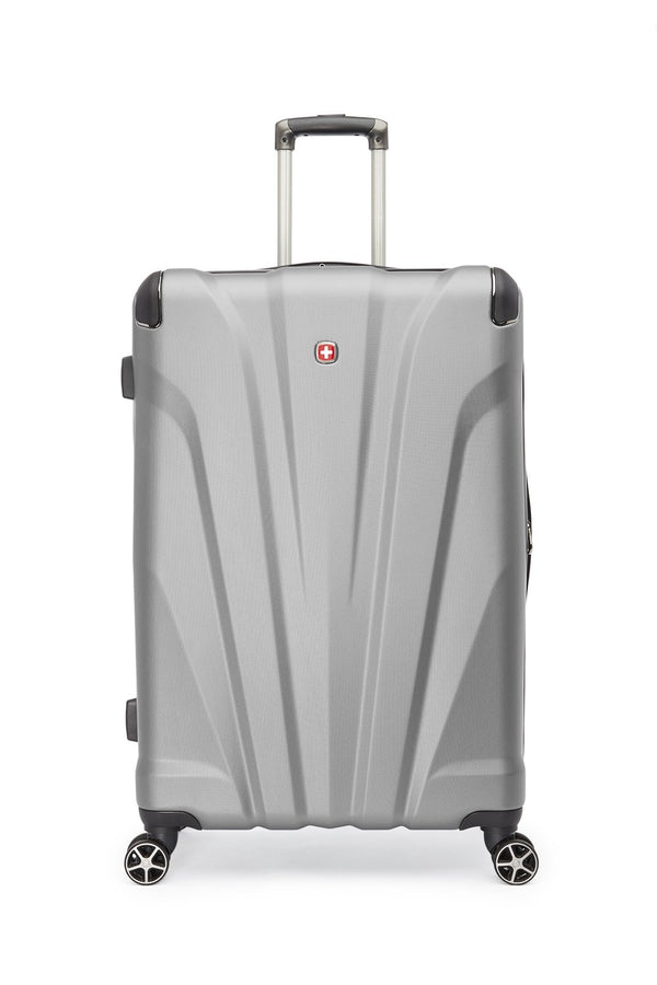 Swiss Gear Global Traveller Collection 28 Inch Upright Hardside 8-Wheel Spinner Luggage - Silver