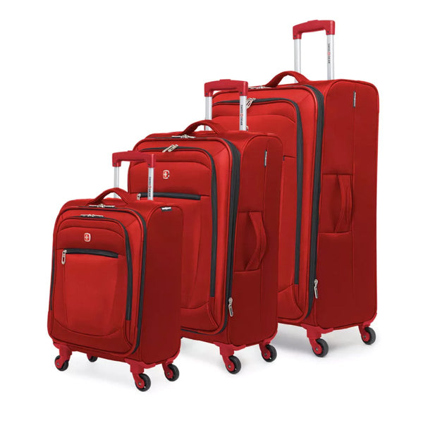 Swiss Gear Payerne Collection 3 Piece Upright Spinner Luggage Set - Red