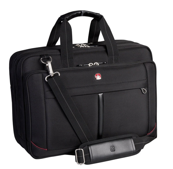Swiss Gear Ballistic Nylon Deluxe Double Gusset Laptop Briefcase - 17.3 Inches - Black