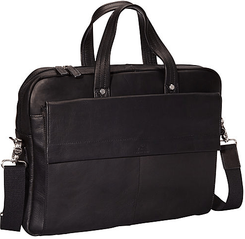 Mancini COLOMBIAN Collection Slim Briefcase for Laptop and Tablet - Black