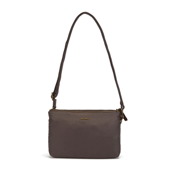 Pacsafe Stylesafe Anti-Theft Double Zip Crossbody Bag - Mocha