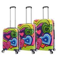 Mia Viaggi ITALY Pop Heart 3 Piece Hardside Spinner Luggage Set
