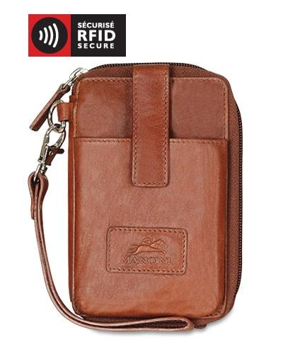 Mancini CASABLANCA Collection Cell Phone Wallet (RFID Secure) - Cognac