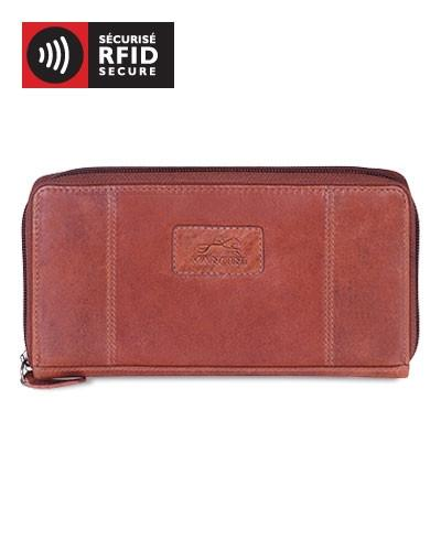 "Mancini CASABLANCA Collection Ladies' ""Clutch"" Wallet (RFID Secure) - Cognac"