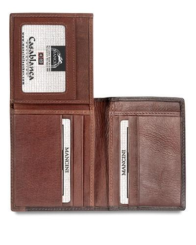 Mancini CASABLANCA Collection Men's Unique Vertical Wing Wallet (RFID Secure)