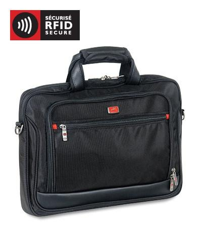Mancini BIZTECH Collection CompuCase-Slim Laptop/ Tablet Briefcase - Black