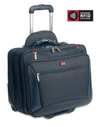 Mancini BIZTECH Collection CompuTraveller-Wheeled Laptop Briefcase with Clothing Compartment