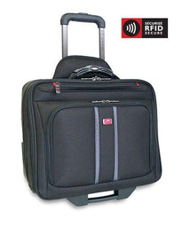 Mancini BIZTECH Collection CompuRoller-Double Compartment Wheeled Laptop Briefcase
