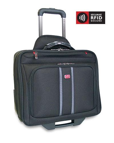 Mancini BIZTECH Collection CompuRoller-Double Compartment Wheeled Laptop Briefcase - Black