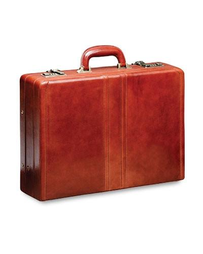 Mancini SIGNATURE Collection Luxurious Expandable Attaché Case - Brown