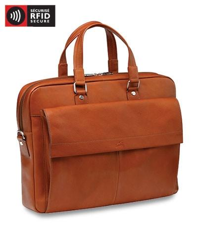Mancini COLOMBIAN Collection Slim Briefcase for Laptop and Tablet - Cognac