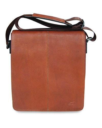 Mancini COLOMBIAN Collection Messenger Style Unisex Bag for Tablet and E-Reader - Cognac