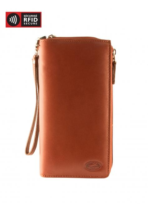 Mancini MANCHESTER Ladies' Trifold Wallet (RFID Blocking) - Cognac