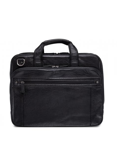 Mancini ARIZONA Double Compartment Briefcase for 15.6 Inch Laptop / Tablet - Black
