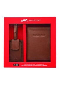 Mancini RFID Secure Passport Wallet with Luggage Tag Box Set