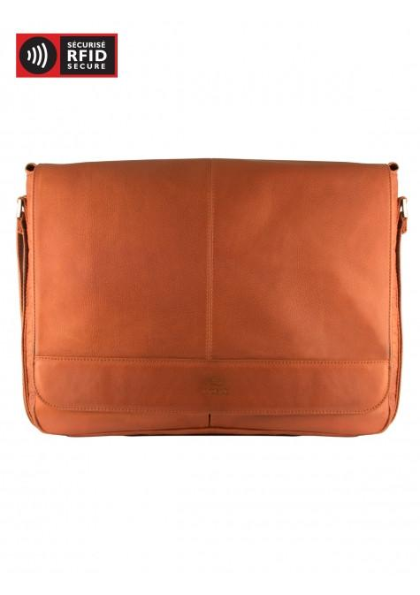 Mancini COLOMBIAN Collection Laptop and Tablet Messenger Bag - Cognac