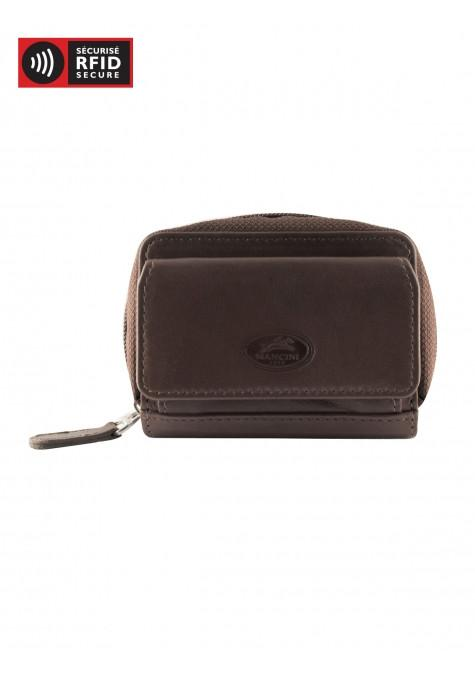 Mancini Manchester Collection Accordion Credit Card Case (Belt Loop) - Brown