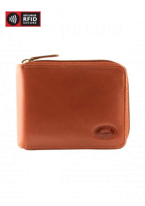 Mancini MANCHESTER Men's Zippered Wallet With Removable Passcase - Cognac