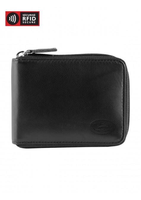 Mancini MANCHESTER Men's Zippered Wallet With Removable Passcase - Black