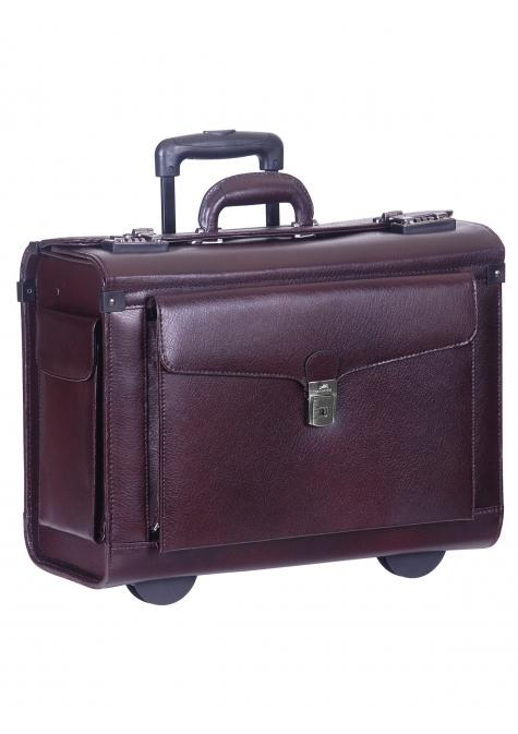 Mancini BUSINESS Collection Deluxe Leather Wheeled Catalog Case - Burgundy