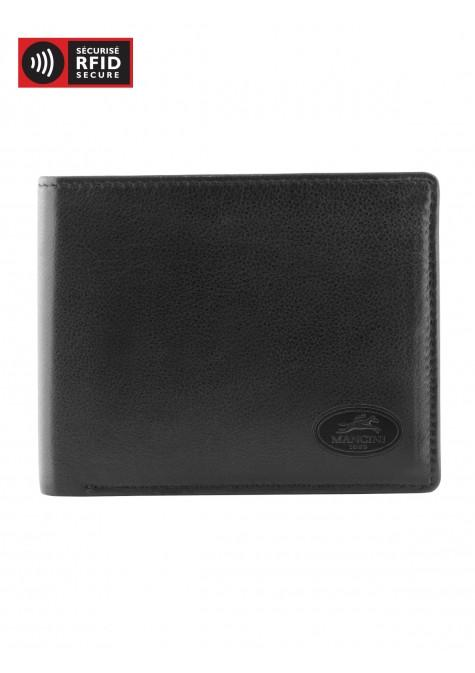 Mancini MANCHESTER Men's Left Wing Wallet - Black