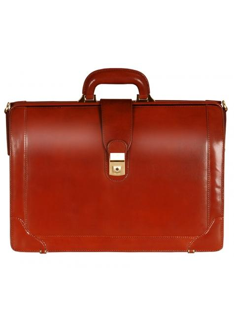 Mancini SIGNATURE Collection Laptop Compatible Litigator Briefcase - Brown