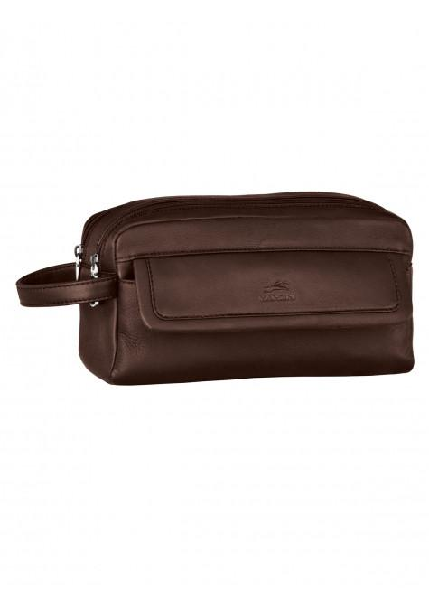 Mancini COLOMBIAN Collection Double Compartment Toiletry Kit - Brown