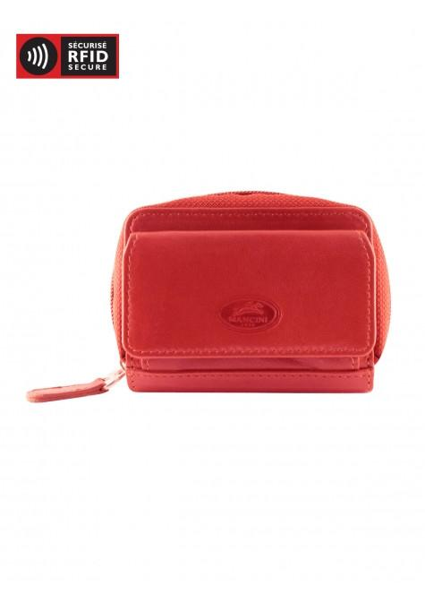 Mancini Manchester Collection Accordion Credit Card Case (Belt Loop) - Red