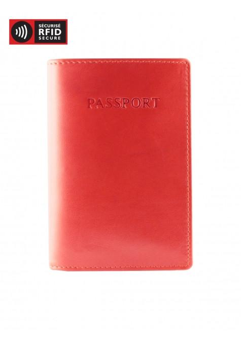 Mancini MANCHESTER RFID Secure Leather Passport Wallet - Red