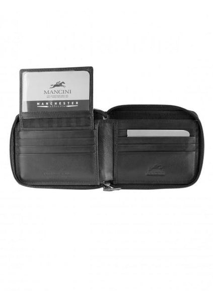 Mancini MANCHESTER Men's Zippered Wallet With Removable Passcase