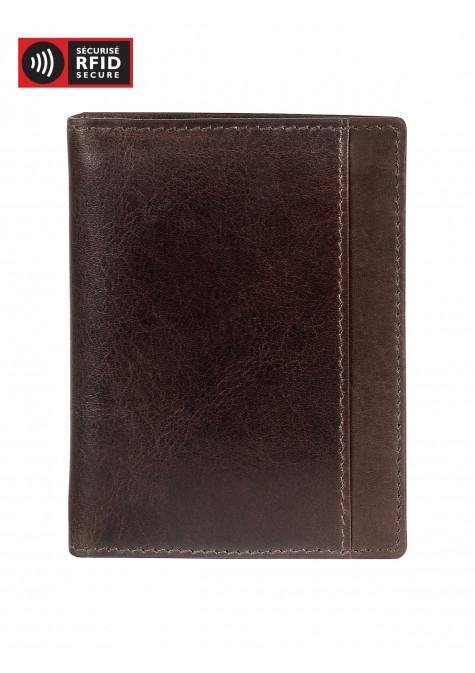 Mancini CASABLANCA Collection Men's Unique Vertical Wing Wallet (RFID Secure) - Brown