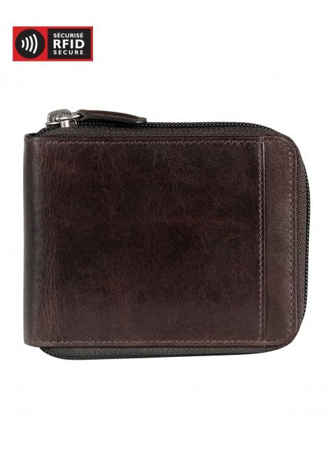 Mancini CASABLANCA Collection Men's Zippered Wallet with Removable Passcase (RFID Secure) - Brown