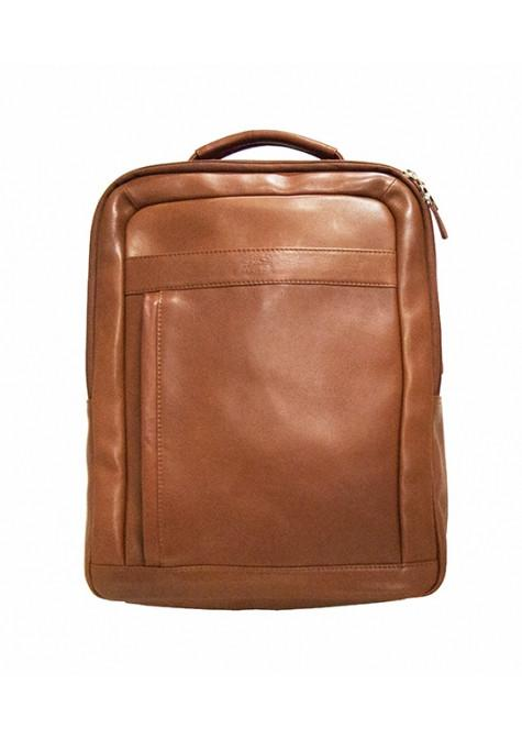 Mancini COLOMBIAN RFID Secure Backpack for Laptop and Tablet - Cognac