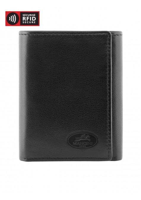 Mancini MANCHESTER Men's Trifold Wing Wallet - Black