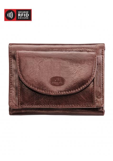 Mancini EQUESTRIAN-2 Men's Trifold Wing Wallet - Brown